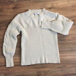 Magaschoni Cashmere Cream Crew Cable Knit Sweater